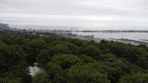 Caught a dreary, hazy view from the top of Enger Tower.