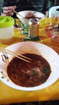Street noodle soup that we made tooooo hot!